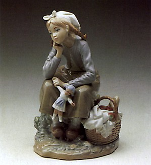 Lladro-Dutch Girl With Doll 1972-84