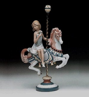 Lladro-Girl On Carousel Horse 1985-2000