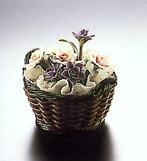 Lladro-Small Brown Flower Basket