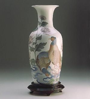 Lladro-Pheasent & Mums Vase 1989 Le 127/300