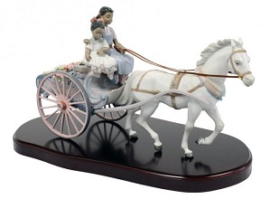 Lladro Black Legacy-FLOWER WAGON