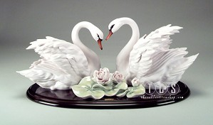 Giuseppe Armani-Two Swans & Flowers