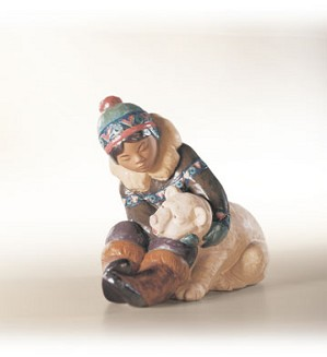 Retired Lladro-Eskimo Playing