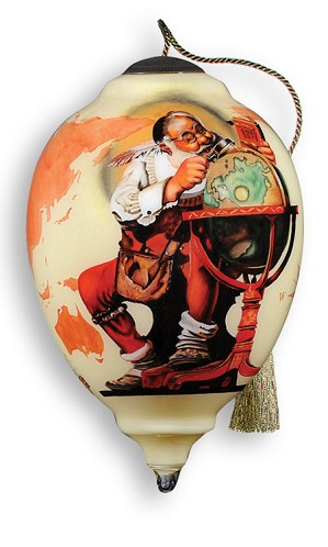 Neqwa-Checking it twice  Ornament  By Norman Rockwell