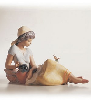 Lladro-Woman With Bird