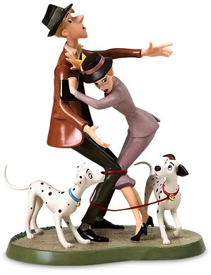 WDCC Disney Classics-One Hundred and One Dalmatians Roger And Anita And Pongo And Perdita Tangled Up Romance