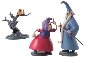 WDCC Disney Classics-The Sword In The Stone Merlin Archimedes Wart And Madam Mim