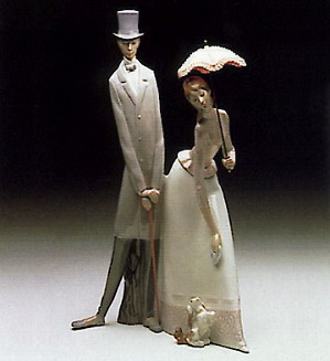 Lladro-Edwardian Couple With Dog 1969-85