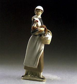 Lladro-Girl With Cockerel 1969-93