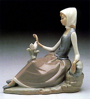 Lladro-Shepherdess with Dove 1969-93