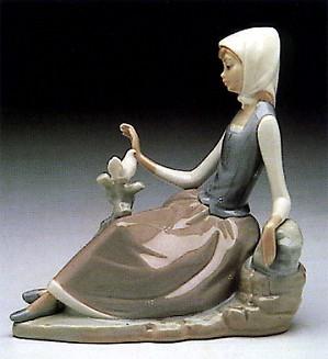 Lladro-Shepherdess with Dove 1969-93