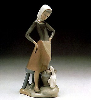 Lladro-Girl With Milk Pail 1970-91