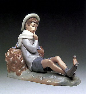 Lladro-Shepherd With Bird 1970-85