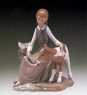 Lladro-Girl With Calf 1972-81