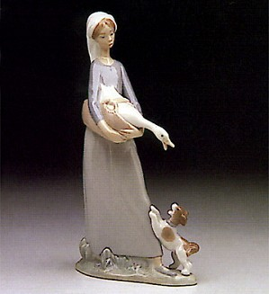 Lladro-Girl With Goose And Dog 1974-93