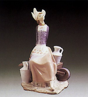 Lladro-Milkmaid With Wheelbarrow 1977-81
