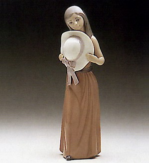 Lladro-Bashful-Girl With  With Straw Hat