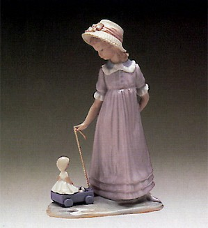 Lladro-Girl With Toy Wagon 1980-97