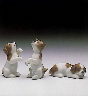 Lladro-Mini Puppies (set Of 3) V. Rare 1985-90