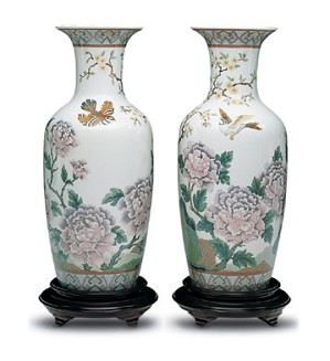 Lladro-Oriental Peonies Vase #2 Le300 1992-01