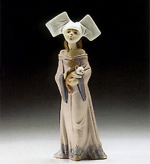 Lladro-Medieval Maiden With Cat 1994-96 ***