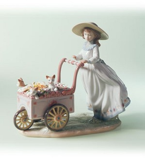 Retired Lladro-Kitty Cart