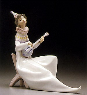 Lladro-Young Jester With Mandolin 1995-97