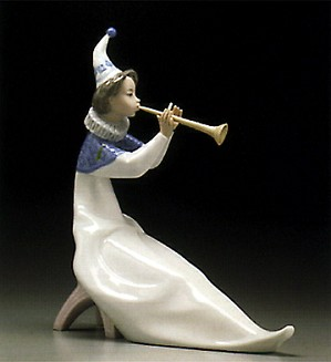 Lladro-Young Jester With Trumpet 1995-97