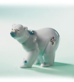 Retired Lladro-Attentive Polar Bear W/flwrs