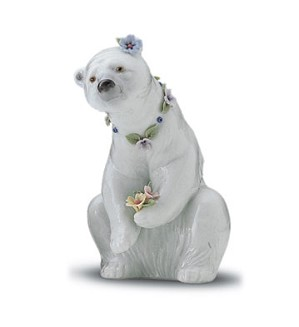 Lladro-Resting Polar Bear With Flowers 1997-01
