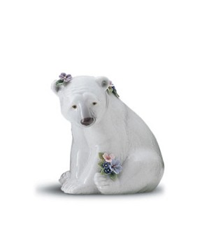 Lladro-Seated Polar Bear With Flowers 1997-01