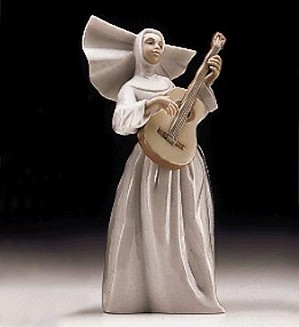 Lladro-Sister With Guitar Usa 1997-99