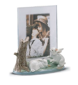 Retired Lladro-Portrait Frame(garden Bunnies)