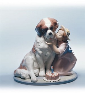 Retired Lladro-A Birthday Kiss