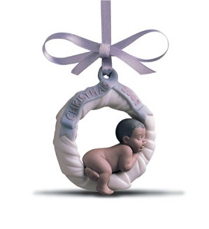 Lladro-Baby's First Christmas 2001 (black Legacy) Ornament