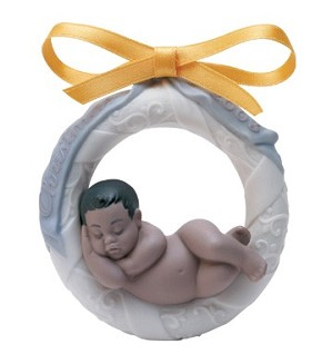 Lladro-Baby's First Christmas 2003 (black Legacy) Ornament