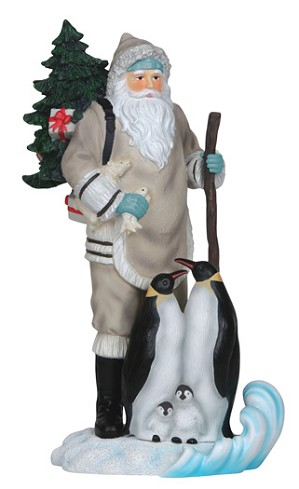 Pipka-Santa With Penguins Figurine