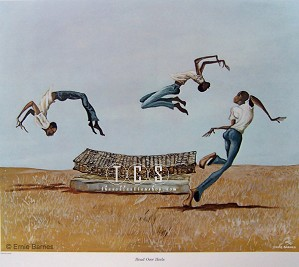 Ernie Barnes-Head Over Heels-Signed