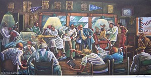 Ernie Barnes-The Palace Barber Shop Artist Signed