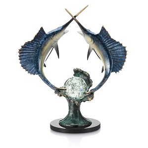 SPI Sculptures-Underwater Duel - Sailfish with LED Light