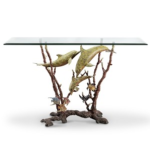 SPI Sculptures-Dolphin Trio Console Table