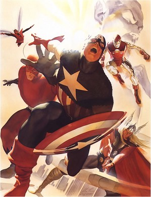 Alex Ross-Avengers #4, Captain America Joins - Mini Canvas