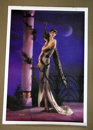 Giuseppe Armani-Lady with Peacock Canvas Transfer
