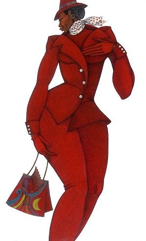 Charles Bibbs-Ebony In Red Giclee Remarque