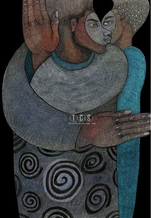 Charles Bibbs-Eye To Eye Giclee (black Background)