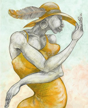 Charles Bibbs-Feathered Hat - Canvas