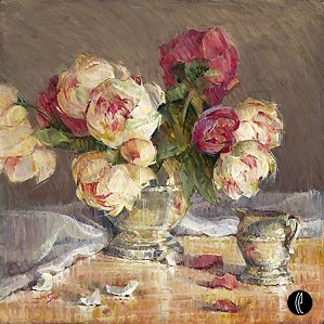 Jan Saia-Peonies And Silver