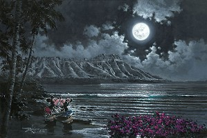 Rodel Gonzalez-Full Moon Over Diamond Head Mickey and Minnie