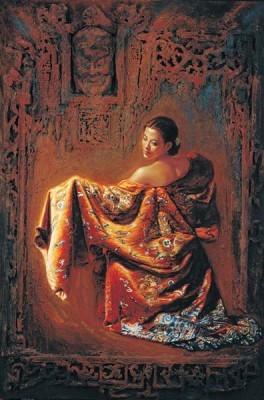 George Tsui-The Mask Chiarograph on Paper