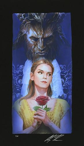 Alex Ross Disney-La Belle Et La Bete Chiarograph on Black Paper From Beauty and The Beast